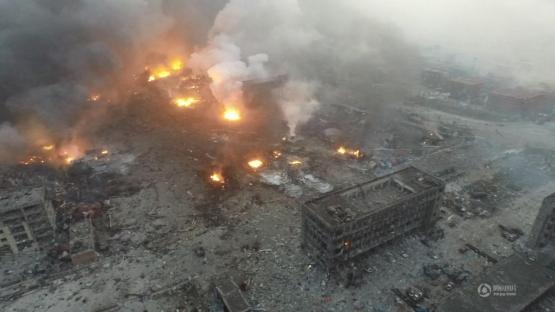 中国天津の爆発現場