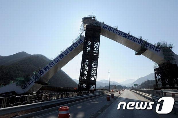 崩壊した橋