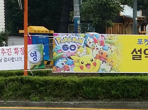 韓国 ポケモンGOの看板